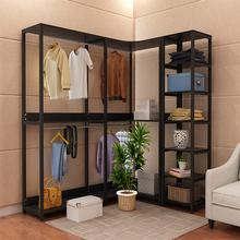 卧室衣rg落地步入组lc间转角挂衣服架置物衣柜铁艺简约
