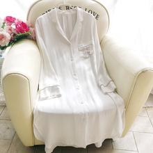 棉绸白rg衬衫睡裙女ro薄简约家居服性感长袖开衫中长式空调房