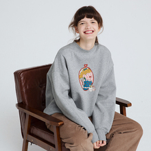 PROrg独立设计秋fr套头卫衣女圆领趣味印花加绒半高领宽松外套