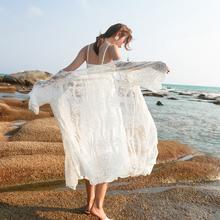 防晒衣rh中长式超仙na9新式夏季海边沙滩外套薄白色(小)披肩配裙子
