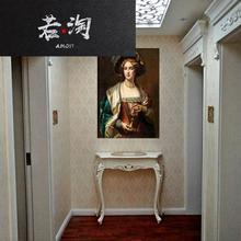 欧式玄rh桌轻奢条几do关柜靠墙桌半圆玄关台走廊柜端景门厅柜