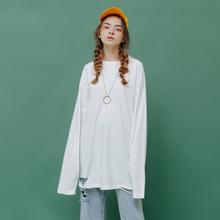 白色BF风破洞长袖T恤女