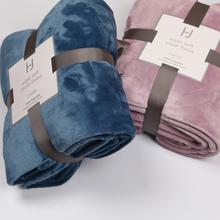 HJ毛rh法兰绒加厚th调毯双的床单夏季毛巾被纯色珊瑚绒毯