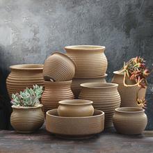 粗陶素ri多肉陶瓷透ar老桩肉盆肉创意植物组合高盆栽