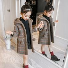 女童秋ri宝宝格子外ha童装加厚2020新式中长式中大童韩款洋气