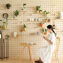 定制洞ri板木质实木ha纳厨房客厅北欧日式装饰壁挂墙上置物架
