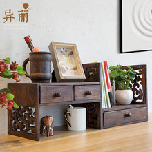 创意复ri实木架子桌ha架学生书桌桌上书架飘窗收纳简易(小)书柜