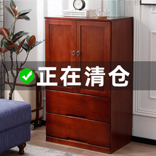 实木衣ri简约现代经ha门宝宝储物收纳柜子(小)户型家用卧室衣橱