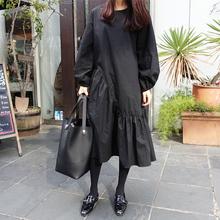 春秋新ri黑色不规则ew连衣裙中长裙女士宽松显瘦灯笼袖长裙子