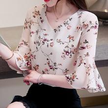 雪纺衫ri短袖202ap新式碎花遮肚子很仙的t恤(小)衫洋气显瘦上衣