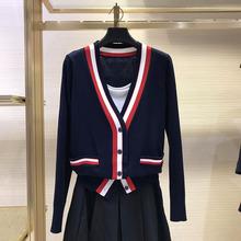 希哥弟ri�q女装专柜gx020年秋季新式条纹针织修身毛衣开衫外套