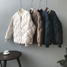 羽绒棉riins无领gx冬季潮韩国宽松短式菱格棒球服棉袄面包服