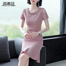 海青蓝ri式智熏裙2al夏新式镶钻收腰气质粉红鱼尾裙连衣裙14071