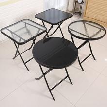 钢化玻ri厨房餐桌奶da外折叠桌椅阳台(小)茶几圆桌家用(小)方桌子