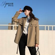 (小)西装ri套女装20in季新式韩款英伦风衣(小)众设计感流行系带西服