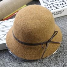 英伦秋ri季韩款帽子in游盆帽(小)礼帽纯色百搭羊毛帽子女