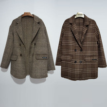 100ri羊毛专柜订zw休闲风格女式格子大衣短式宽松韩款呢大衣女