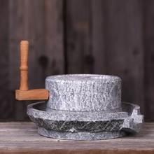 青石茶ri磨盘斗茶具vh代点茶家用碾磨手工磨具茶器