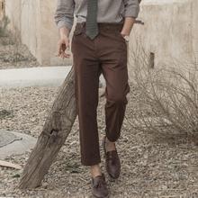 SOAriIN独立复vh工装九分裤男 英伦风巴黎扣休闲锥形9分裤