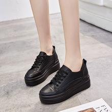 (小)黑鞋rkns街拍潮cm21春式增高黑色纯皮镂空夏单鞋松糕鞋女厚底