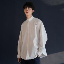 港风极简白衬衫外套男士衬rl9长袖韩款bnBF文艺百搭休闲黑白