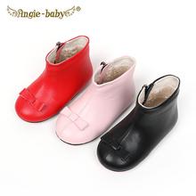 女童短rm牛皮宝宝靴eb加绒蝴蝶结真皮靴中(小)童侧拉链低筒皮靴