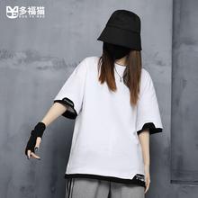 多福猫rm创潮牌酷酷iv装帅气嘻哈显瘦黑白T恤短袖女中性衣服