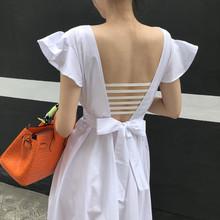 202rm白色后露背ml女夏季旅游度假超仙长裙性感修身海边初恋裙