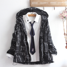原创自rm男女式学院ml春秋装风衣猫印花学生可爱连帽开衫外套