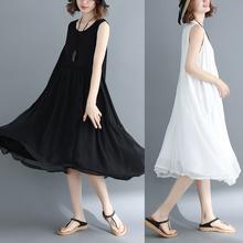 气质显rm雪纺长裙女ml19新式沙滩裙海边度假超仙无袖背心连衣裙