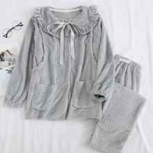 冬天加rm法兰绒保暖ml冬睡衣产妇产后喂奶长袖哺乳衣