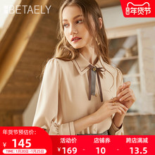 202ro秋冬季新式er纺衬衫女设计感(小)众蝴蝶结衬衣复古加绒上衣