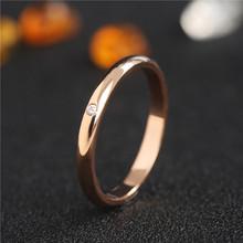日式轻ro戒指网红简85素圈钻石食指环chic钛钢关节女(小)指