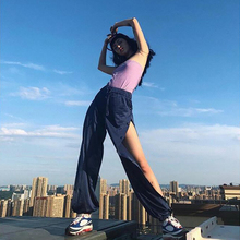 镂空开ro设计感束脚85显瘦hiphop高腰嘻哈运动休闲裤女夏