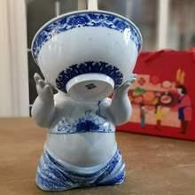 中国风ro瓷摆件陶瓷kb艺品中式艺术娃娃禅意家居装饰客厅摆设