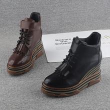 欧洲站坡跟短靴女2020新式真皮ro13厘米厚ki鞋魔术贴马丁靴
