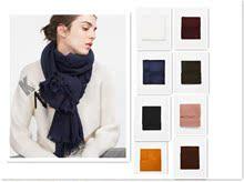 纯色黑色姜ro2色围巾zks冬季式双面长式学生ra加厚百搭包邮