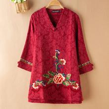 妈妈装ro装中老年女sb七分袖衬衫民族风大码中长式刺绣花上衣
