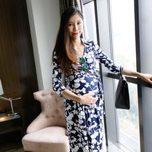 LAMroA春装新式ab分袖波西米亚碎花孕妇长裙欧美显瘦哺乳连衣裙