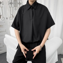 夏季薄ro短袖衬衫男ke潮牌港风日系西装半袖衬衣韩款潮流上衣服