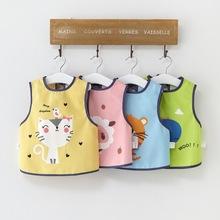 夏季宝ro吃饭罩衣薄te衣宝宝无袖围兜婴儿围裙护衣背心式饭兜