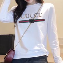 春秋装ro式白色t恤te修身显瘦纯棉体恤圆领加绒加厚打底衫女