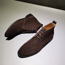 CHUroKA真皮手nd皮沙漠靴男商务休闲皮靴户外英伦复古马丁短靴