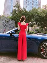 202ro夏新式名媛ie装连身阔腿裤显高显身材收腰潮流减龄连体裤