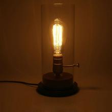美式(小)rp灯木质玻璃nd灯泡可调暖色黄光床头仿复古灯具