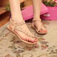 平底波rq米亚凉鞋女ob新式花朵罗马夹脚夹趾平跟鞋子学生休闲