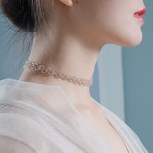 气质显rq茶金色水晶hz仙choker锁骨链短式颈链网红chic项链女