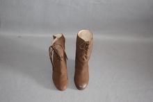 磨砂羊rr坡跟女靴咖gg筒里外全皮品牌撤柜真皮靴22783701