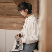 白衬衫rt设计感(小)众au0秋季新式韩款宽松外穿百搭长袖上衣衬衣潮