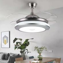 隐形风rt灯现代简约kh扇吊灯客厅卧室LED吊扇灯铁艺灯具三色